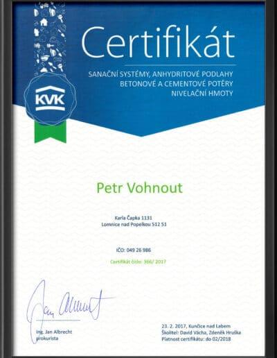Certifikát KVK