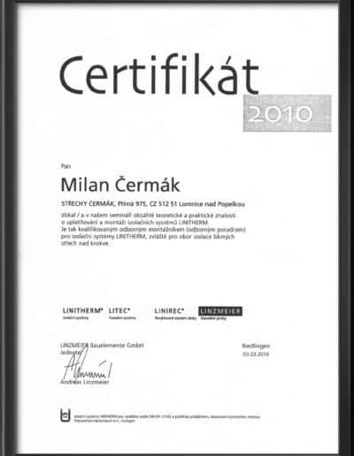 Certifikát Linitherm 2010