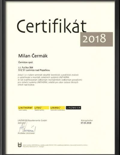 Certifikát Linitherm 2018